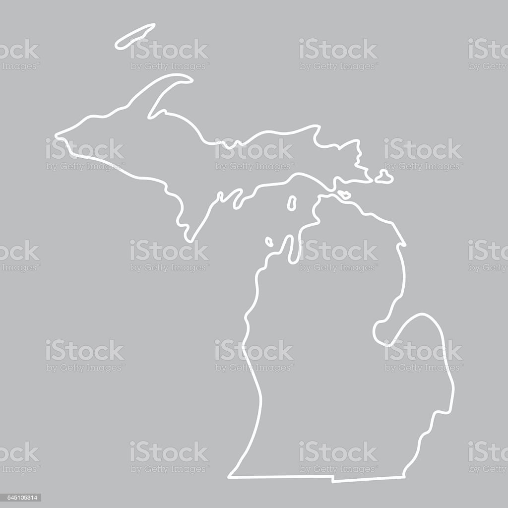 abstract outline of Michigan map vector art illustration