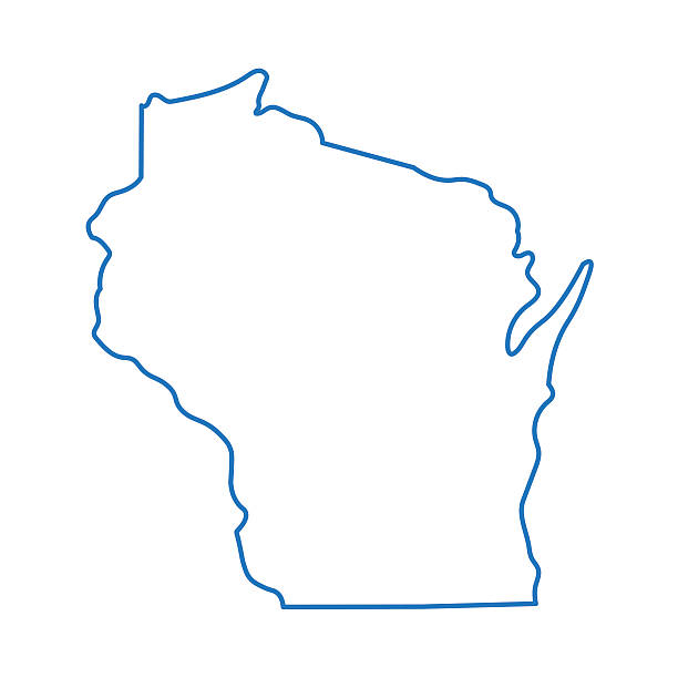 abstract outline of Wisconsin map blue abstract outline of Wisconsin map wisconsin stock illustrations