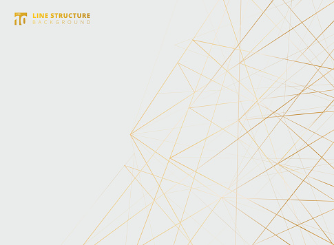 Abstract overlap gold lines structure on white background.