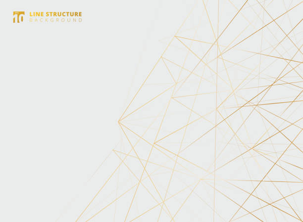 Abstract overlap gold lines structure on white background. Abstract overlap gold lines structure on white background. Vector illustration triangle shape stock illustrations