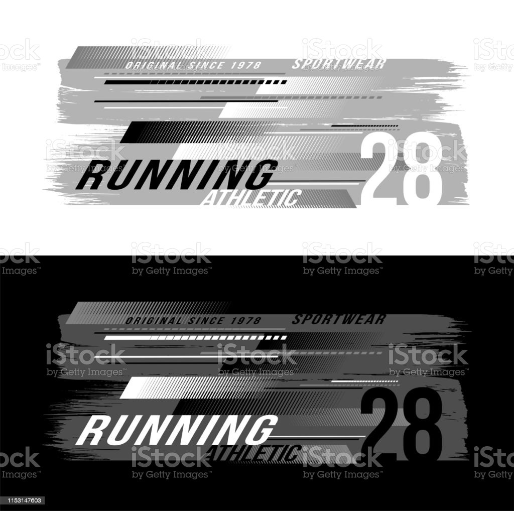 Abstract Paint Brushstroke And Tshirt Design Vector For Silkscreen Printing Athletic Running Sportswear On Black And White Background Stock Illustration Download Image Now Istock
