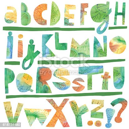 Funky alphabet. Cutout letters. Vector file