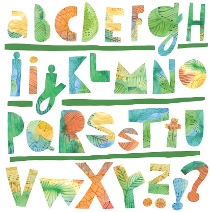 Abstract painted alphabet letters