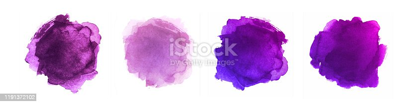 Abstract Painted Shapes Isolated on White Background. Watercolor Vector Texture Set