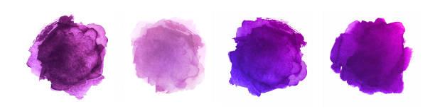 bildbanksillustrationer, clip art samt tecknat material och ikoner med abstrakt målade former isolerade på vit bakgrund. purple watercolor vektor textur set - purpur
