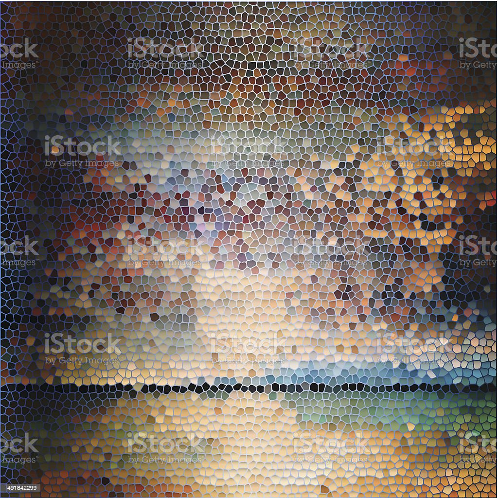 Abstract painted stained-glass background vector art illustration