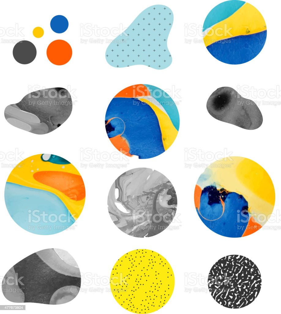Abstract painting template with different shapes. Handmade texture vector art illustration