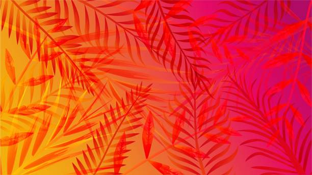 Abstract palm summer vibrant gradient background vector graphic illustration