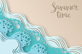 Abstract paper art sea or ocean water waves and beach. Summer background with seacoast. Paper sea waves with lines and bubbles.
