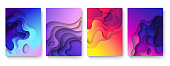 Abstract paper cut background. Cutout fluid shapes, color gradient layers. Cutting papers art. Purple origami carving 3d vector posters