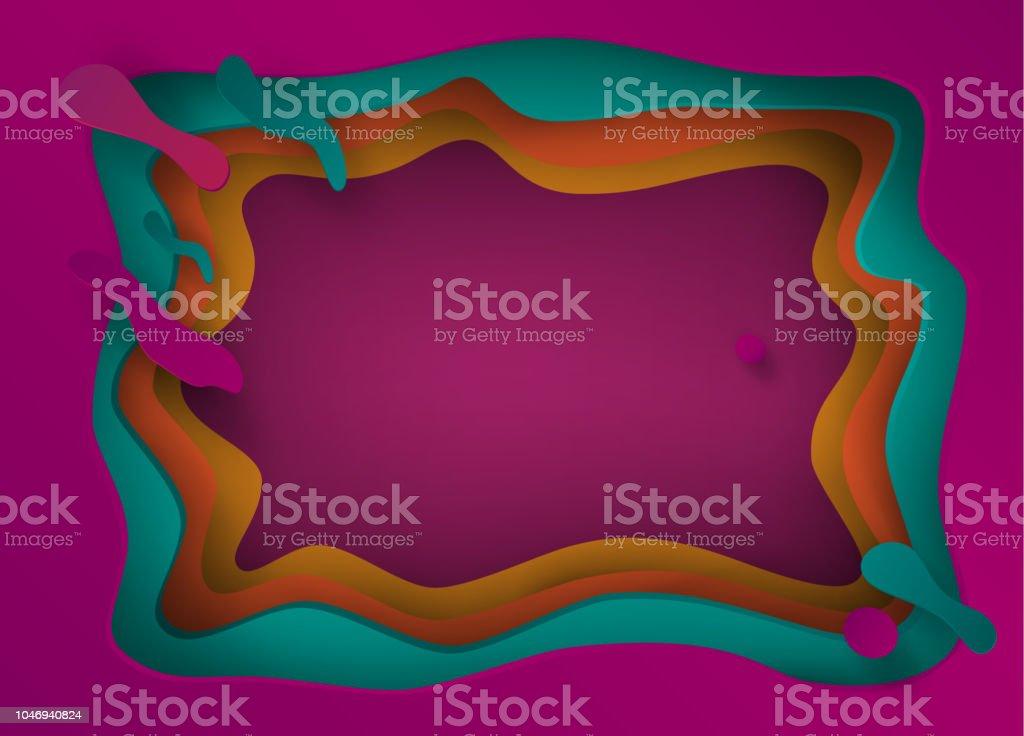 Abstract Paper Cut Origami craft handmade Purple background, cutting paper texture Futuristic frame векторная иллюстрация