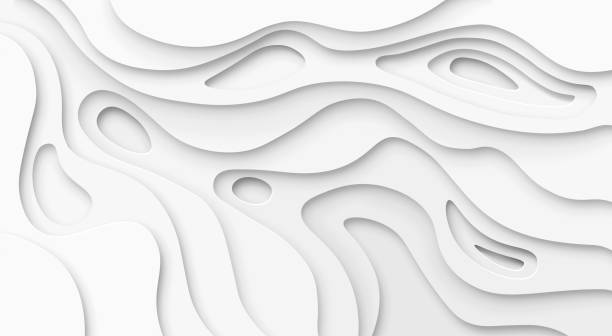Abstract paper cut white background. Topographic canyon map light relief texture, curved layers and shadow. Paper art 3d vector banner Abstract paper cut white background. Topographic canyon map light relief texture, curved layers and shadow. Paper topography pattern art 3d vector banner topography stock illustrations