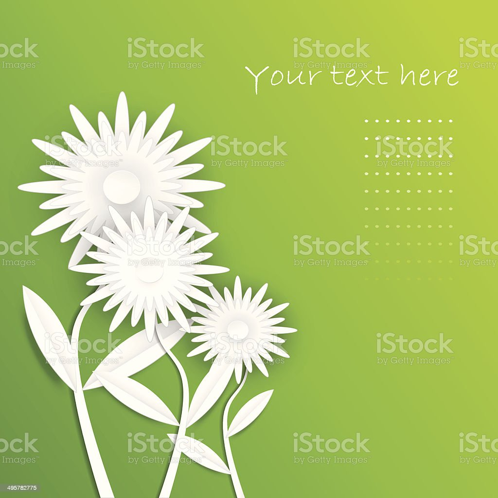 Abstract paper daisy flowers.Spring card vector art illustration