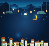 Abstract paper- moon with stars -cloud and sky at night