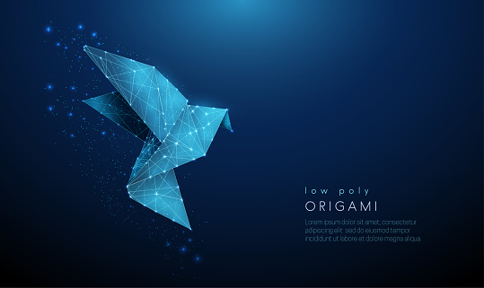 Abstract paper origami bird. Low poly style design.