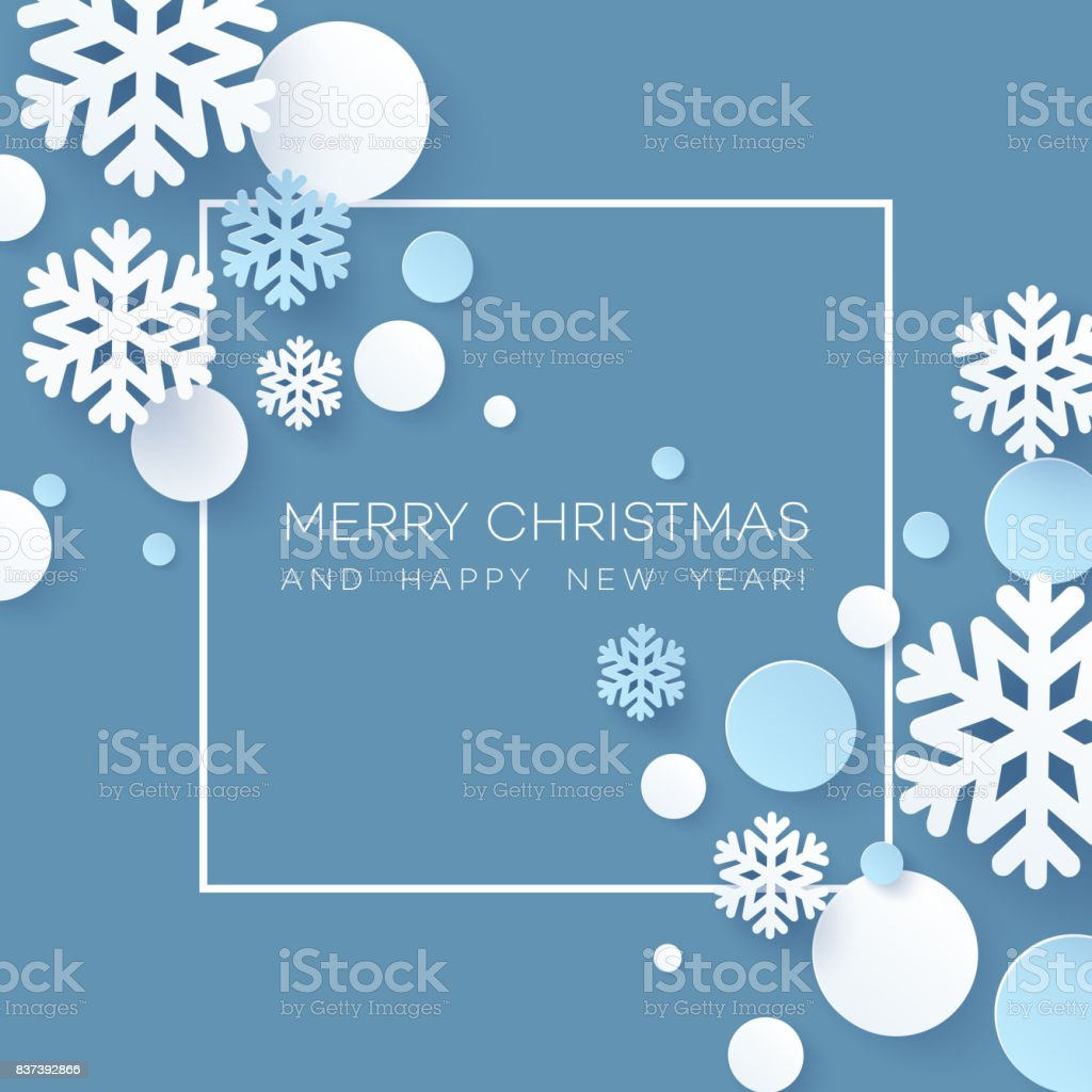 Abstract Papercraft Snowflakes Christmas Background. Vector illustration vector art illustration