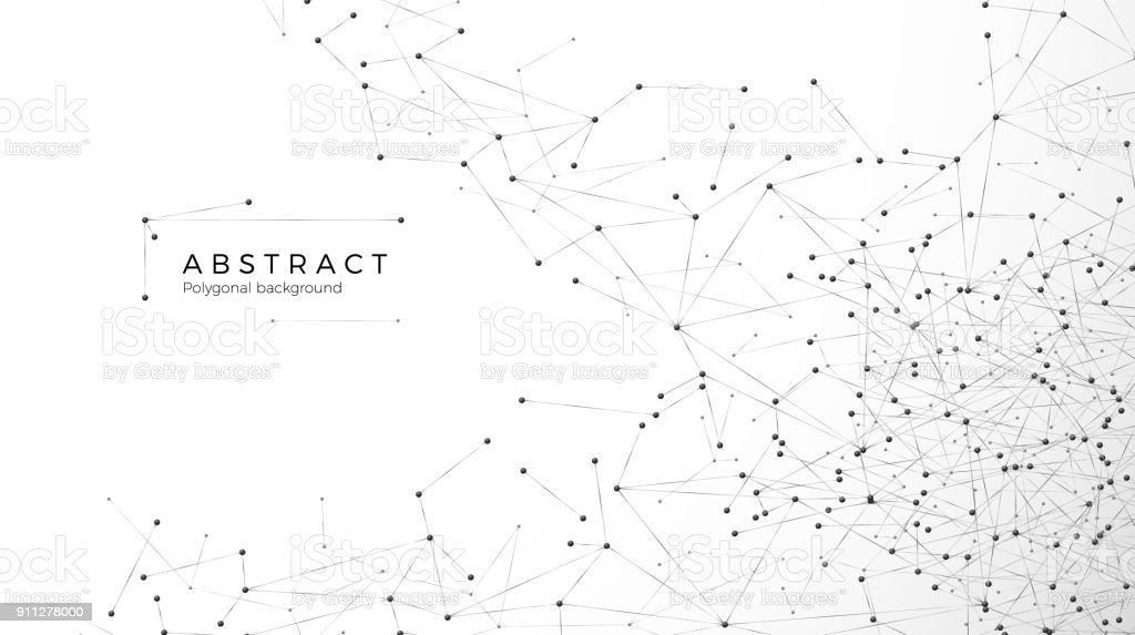 Abstract particle background. Mess network. Nodes connected in web. Futuristic plexus array big data. Atomic and molecular pattern. Vector illustration isolated on white background vector art illustration
