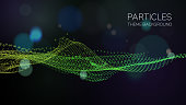 Abstract illustration of particle wave pattern  with copy space