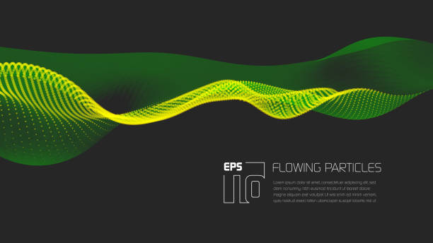 abstract particle background with copy space - sine wave stock illustrations