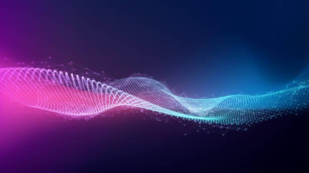 ilustraciones, imágenes clip art, dibujos animados e iconos de stock de fondo de partículas abstractas con espacio de copia - inteligencia artificial