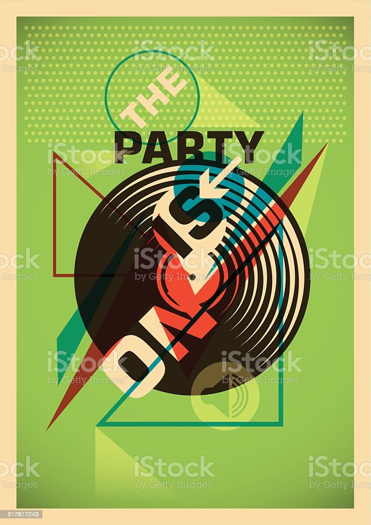 Abstract party poster design in color. vector art illustration