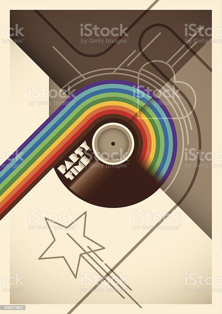 Abstract party poster with rainbow. vector art illustration