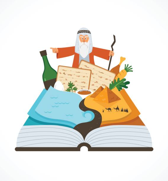 abstract passover story haggadah book over traditional food and mozes - passover stock illustrations, clip art, cartoons, & icons