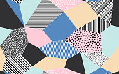 Abstract patchwork pattern background of vector patch artwork of giclee dots, lines and strokes shapes