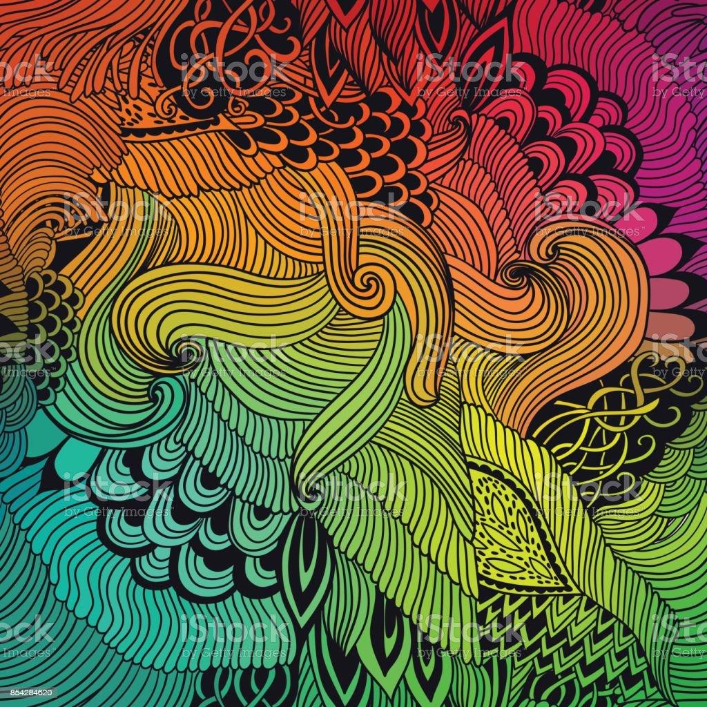 波飾りとバック グラウンド パターンを抽象化します手描きイラスト落書き