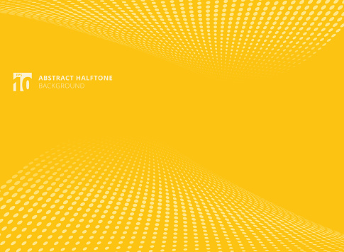 Abstract pattern dots yellow color halftone perspective background. clipart