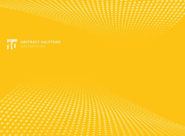추상적인 패턴 도트 옐로우 색상 하프톤 관점 배경. - 노랑 stock illustrations