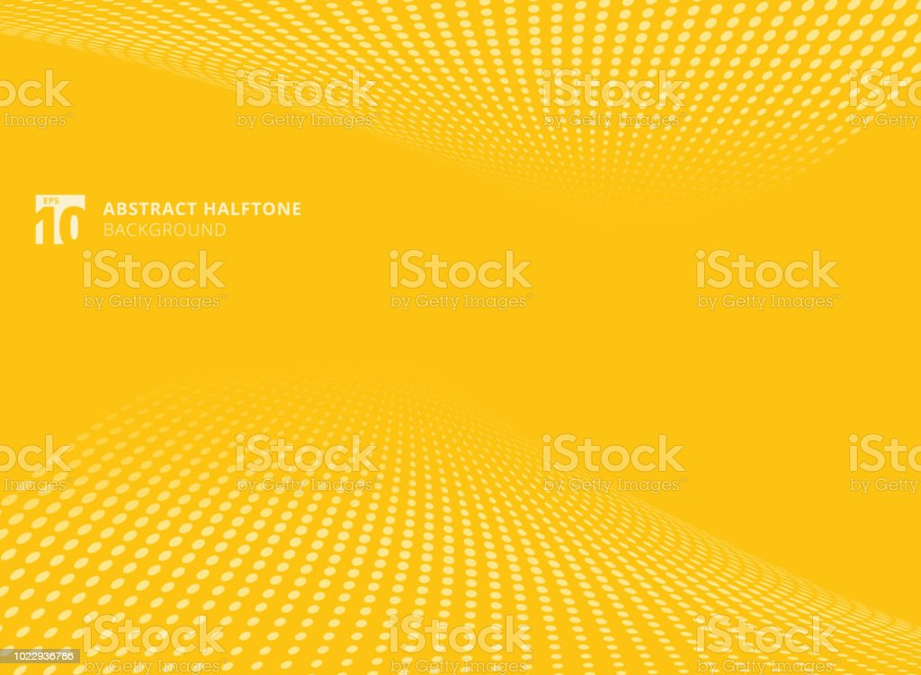 Abstract pattern dots yellow color halftone perspective background. векторная иллюстрация