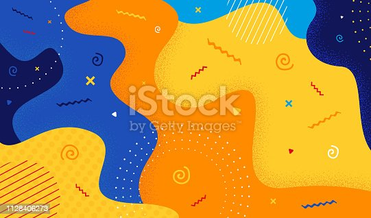 istock Abstract pattern in retro 80s-90s style. Cartoon color splash background with geometric shapes. Vector illustration colorful spotty pattern. 1128406273