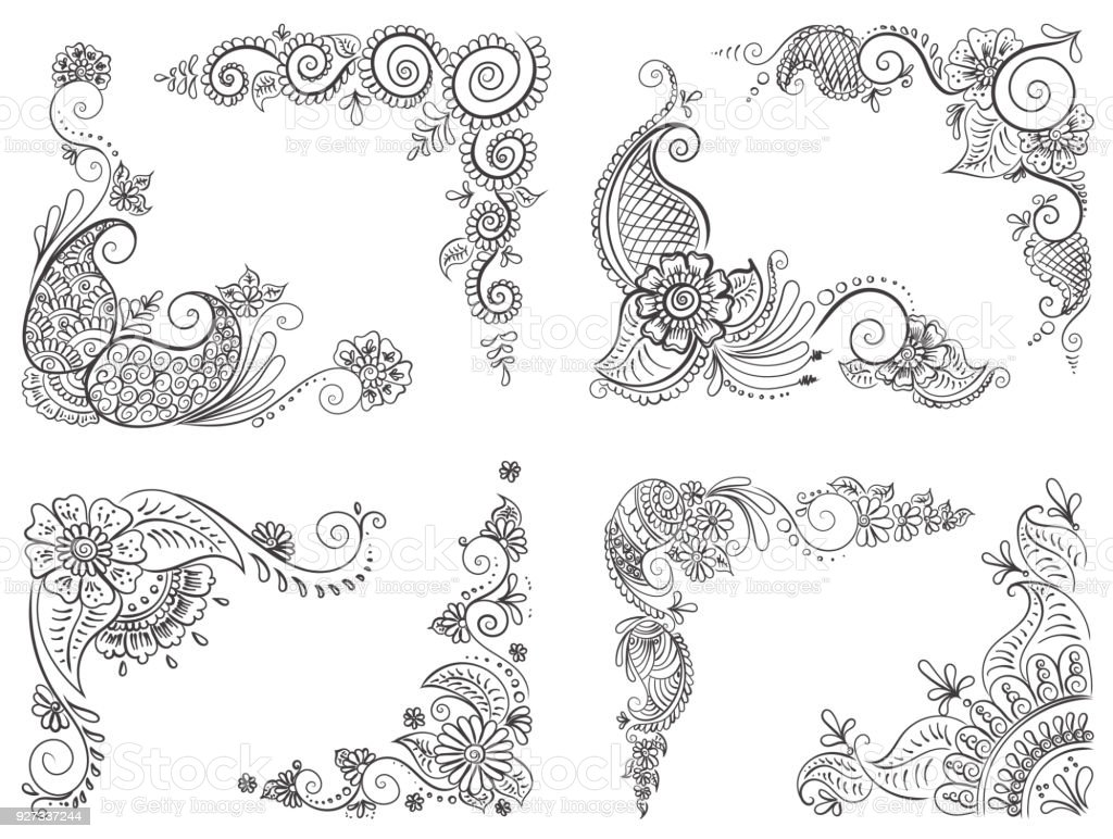 Abstract Pattern Of A Tattoo Henna Stock Vector Art More Images Of