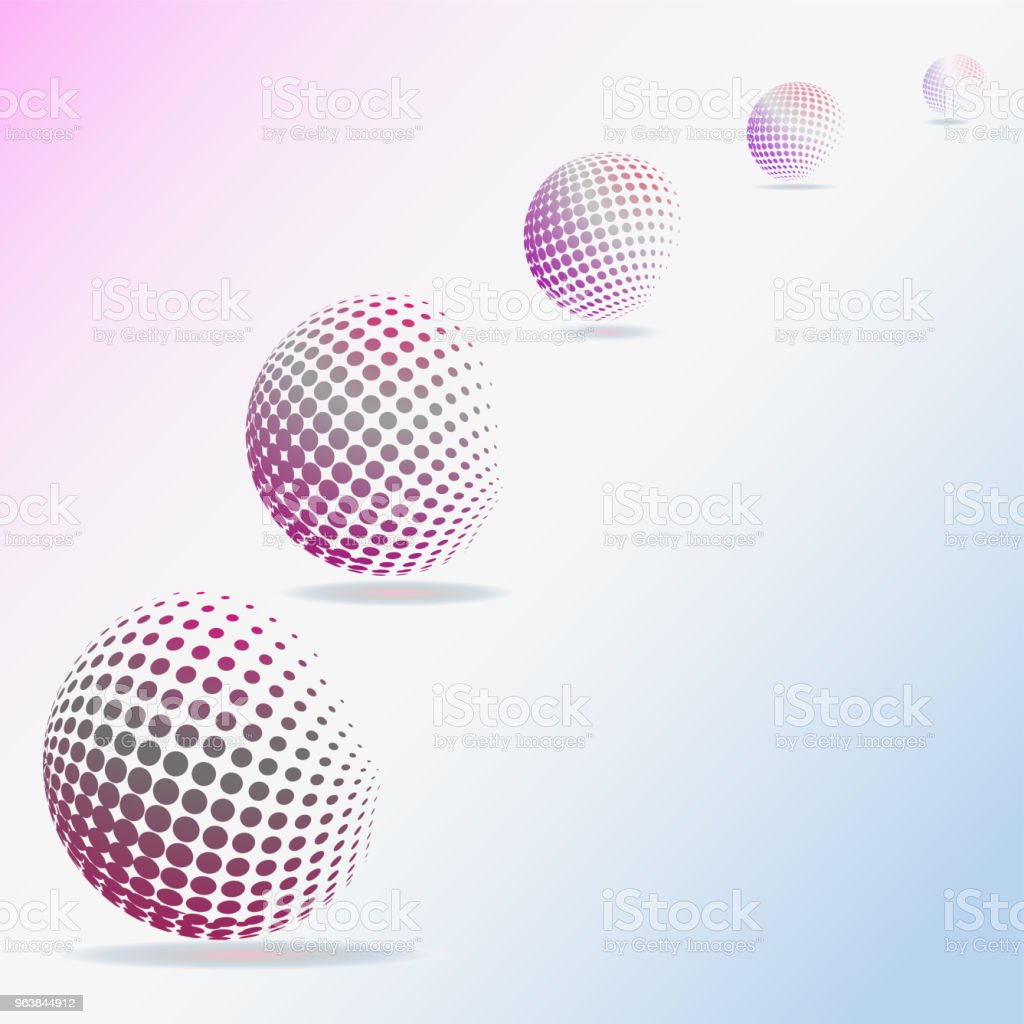 Abstract pattern of flying spheres and their shadows. Vector illustration for website design, message design, textiles, postcards, poster, labels mock-up. - Royalty-free Abstract stock vector