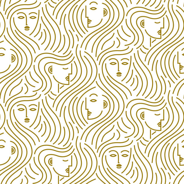 Abstract pattern of heads with hair Seamless vector pattern of abstract gold female heads with curling hair hair stock illustrations