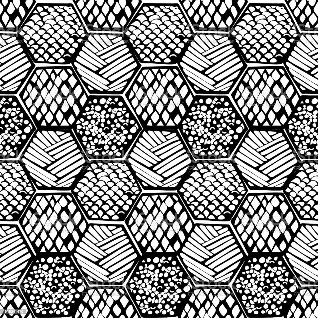 Abstract pattern of honeycomb with different texture inside seamless graphic hand drawing background illustration