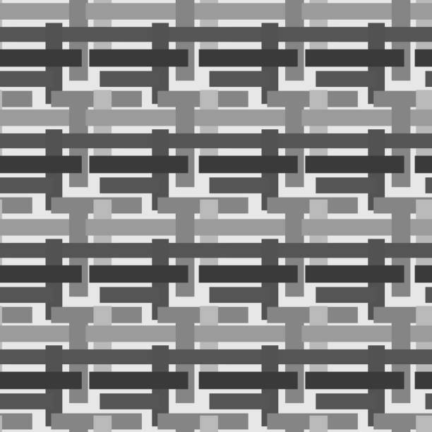 Bекторная иллюстрация Abstract pattern of intertwined stripes, endless canvas, seamless texture. Square. Monochrome. Grey
