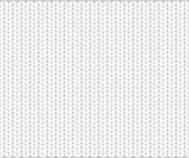 ilustrações de stock, clip art, desenhos animados e ícones de abstract pattern of knitted texture, white yarn on gray background. vector illustration, eps10. - tricotado
