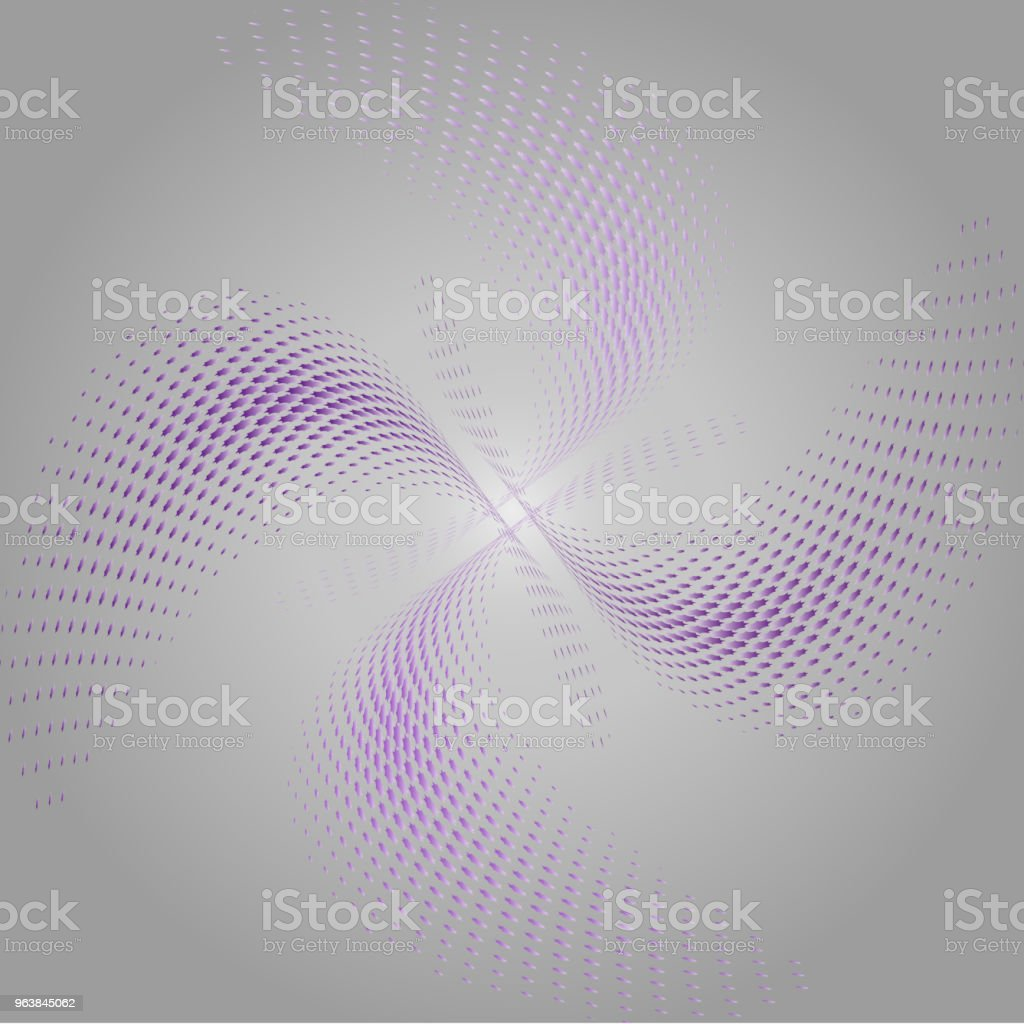 Abstract pattern of monochrome dotted, that make up wavy futuristic lines and figures. Vector illustration for website design, logo, textiles, wallpapers, postcards, poster, labels mock-up. - Royalty-free Abstract stock vector