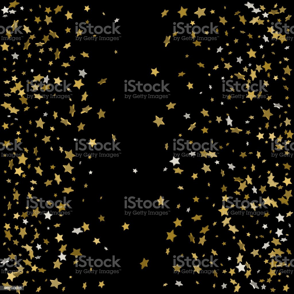 Abstract pattern of random falling gold stars on black background. Glitter pattern for banner, greeting card, Christmas and New Year card, invitation, postcard, paper packaging. Vector illustration royalty-free abstract pattern of random falling gold stars on black background glitter pattern for banner greeting card christmas and new year card invitation postcard paper packaging vector illustration stock vector art & more images of abstract