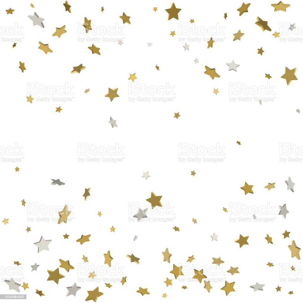 abstract pattern of random falling gold stars on white background