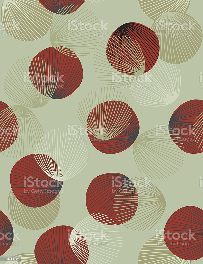 Abstract pattern of red circles and wispy tan round feathers royalty-free stock vector art