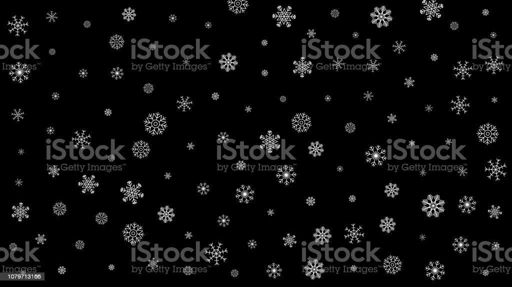 Abstract Pattern Of Transparent Falling Snowflakes On