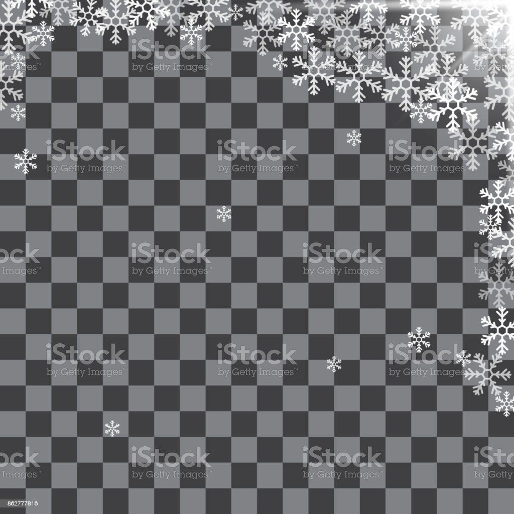 Abstract pattern of transparent falling snowflakes vector art illustration