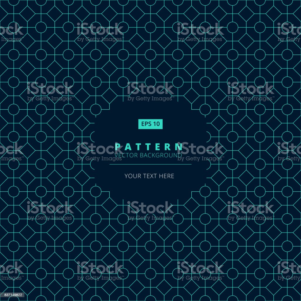 abstract pattern square octagon and circle light blue on dark background with hexagon label copy space, vector vector art illustration