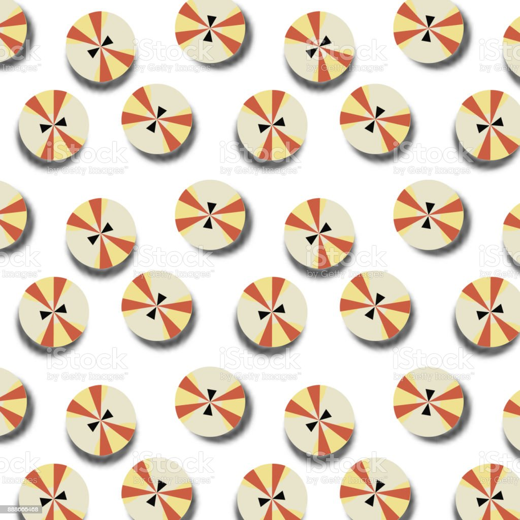 Abstract pattern with brown and gold buttons. Buttons on white vector art illustration