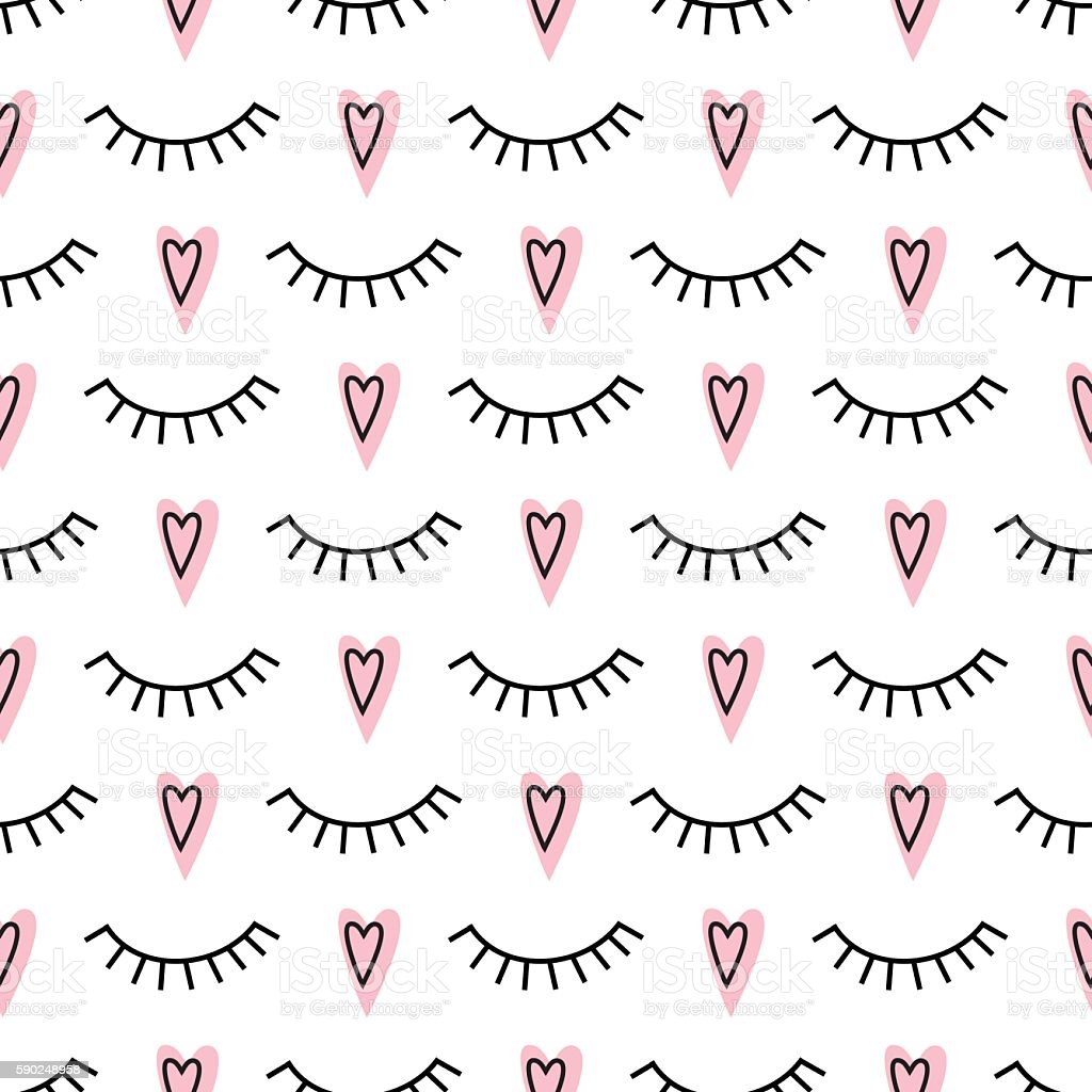 Abstract pattern with closed eyes and pink hearts. vector art illustration