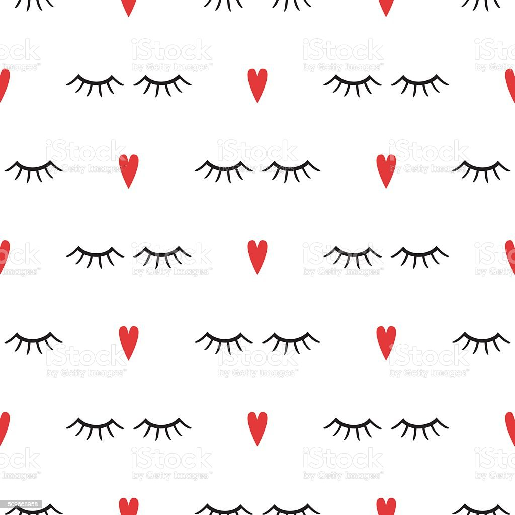 Abstract pattern with closed eyes and red hearts. vector art illustration