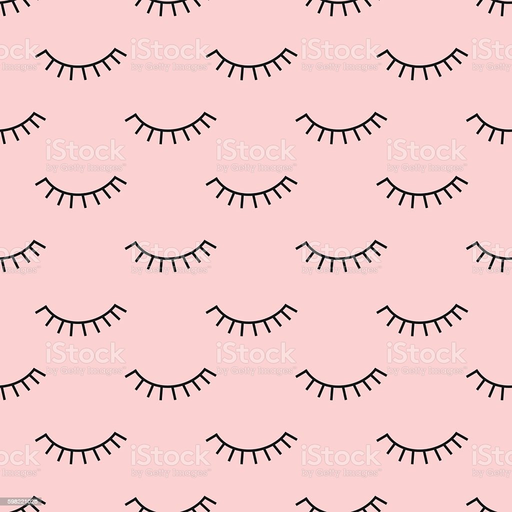 Abstract pattern with closed eyes on pink background. vector art illustration